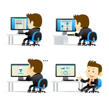 computadora caricatura: La gente elegante hombre de negocios Serie de ordenador