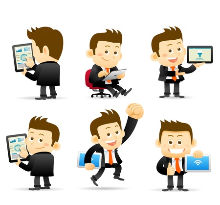young businessman: Elegant People Series -Businessman   tablet pc Illustration