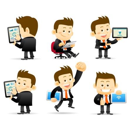computadora caricatura: La gente elegante de la serie-Empresario tablet pc