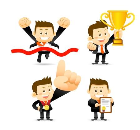 victoire: Homme d'affaires victorieux Illustration