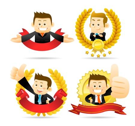 employ� heureux: Homme d'affaires victorieux Illustration