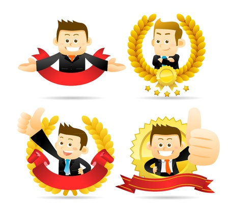 Victorious Businessman Stock Vector - 17573334