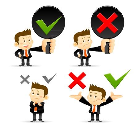 Empresario sí, no hay señal Ilustración de vector