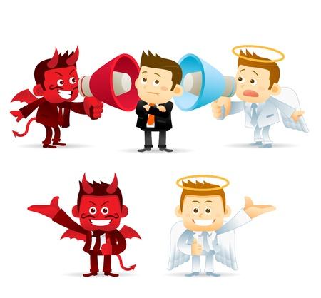good bad: Business Angel diable Illustration