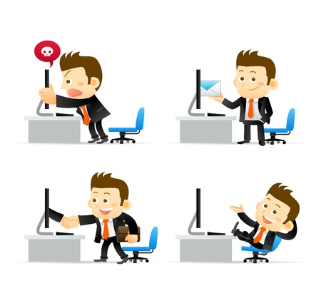 Businessman at computer Vector