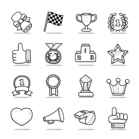Hand drawn award icon set