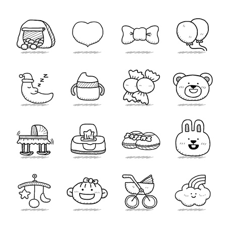 Hand drawn Baby icon set Vector