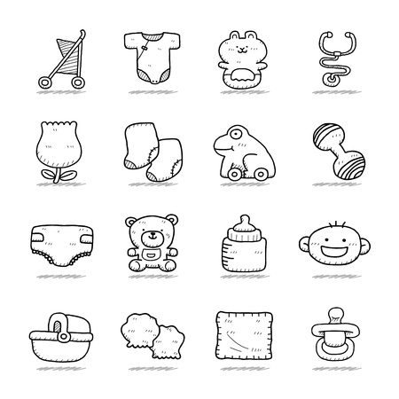 dummy: Hand drawn Baby icon set