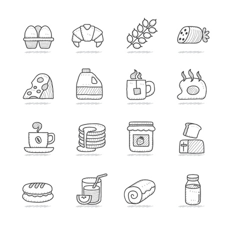 Hand drawn breakfast icons set Stock Vector - 18779657