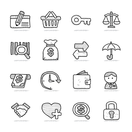 Hand drawn Bank   Finance icon set Stock Vector - 18779656