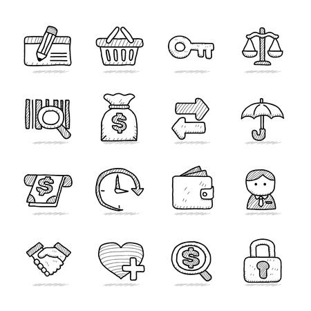 spotless: Hand drawn Bank   Finance icon set