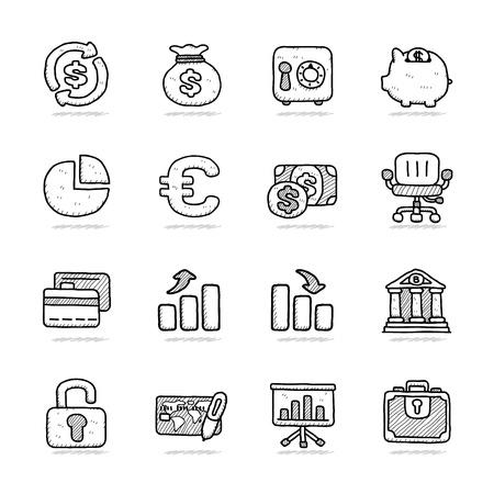 Hand getrokken Bank Finance icon set