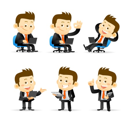 computadora caricatura: Hombre de negocios conjunto