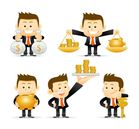 cartoon money: Businessman set