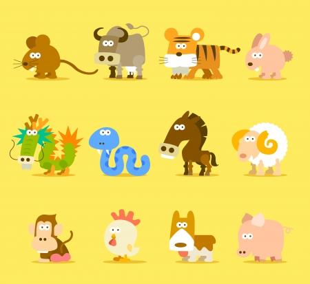 tigre caricatura: Animales del Zod?aco Chino, 12 set de iconos de animales