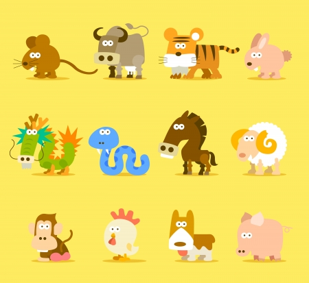 Chinese Zodiac animal ,12 animal icon set  Иллюстрация