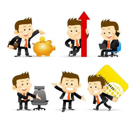 happy employee: Businessman set