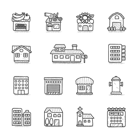 borne fontaine: Vector illustration - tiré par la main bâtiment icônes