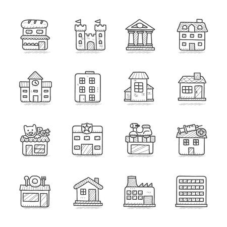 Vector illustration - Getrokken gebouw icon set Stock Illustratie