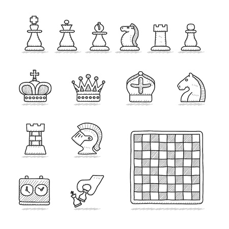 chess knight: Illustrazione vettoriale - disegnata a mano scacchi set di icone