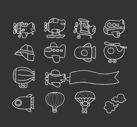Doodle airplane icon set Vector