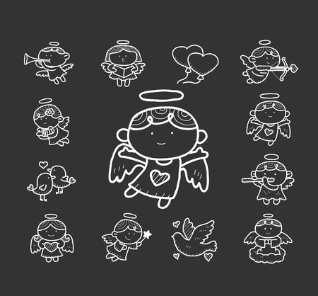 Doodle angel icon set Vector