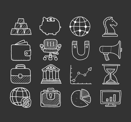 Doodle finance icon set Vector