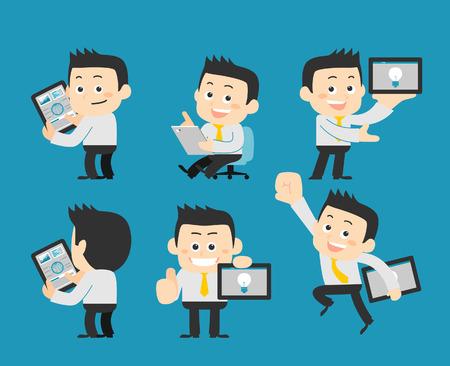 telefono caricatura: Hombre de negocios conjunto