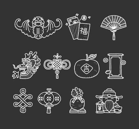 chinese fan: Chinese new year | Doodle icon set