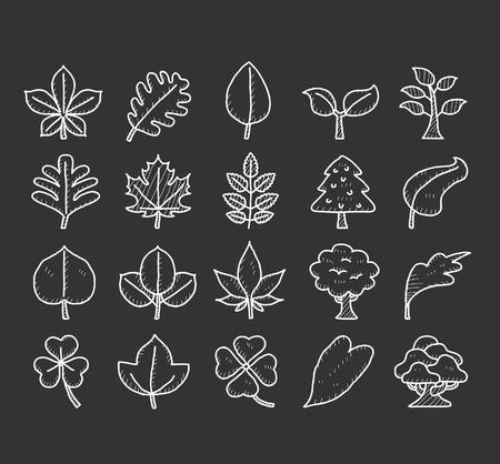 Leaf   Doodle icon set Vector