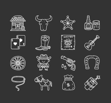 harmonica: Doodle Cowboy icon set