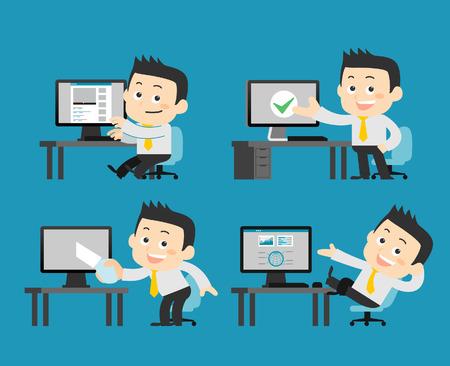 computadora caricatura: Hombre de negocios en conjunto de equipos
