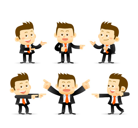set of businessman in different poses. manager.