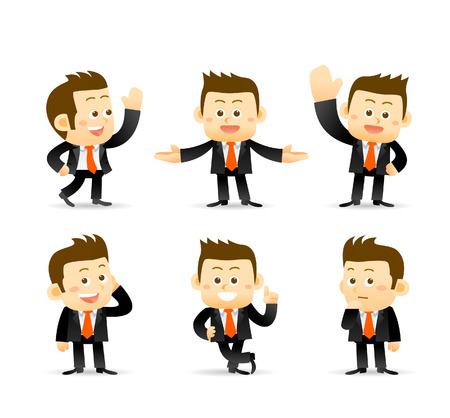 hombre caricatura: conjunto de hombre de negocios en diferentes poses. gerente.