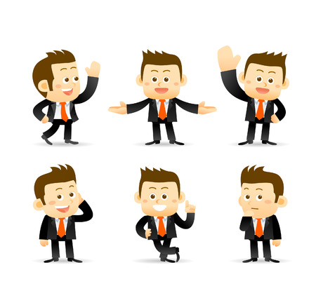 jobs cartoon: set of businessman in different poses. manager.