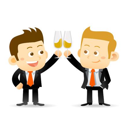 hombres gays: Ilustración vectorial de dos copas de champán businessmanclink para celebrar el éxito de una asociación o un evento especial