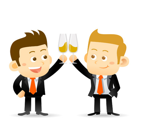 clinking: Vector illustration of two businessmanclink glasses of champagne to celebrate a success partnership or special event