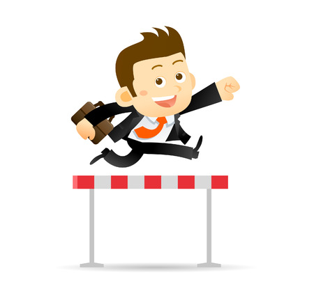 steeplechase: Vector illustration of Businessman jumps over the hurdle