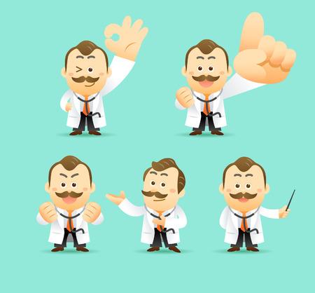 cartoon man: Set of doctor