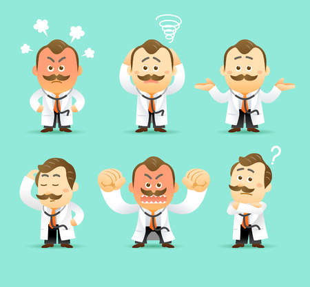 Vector Set of Cartoon Doctor Character, illustration