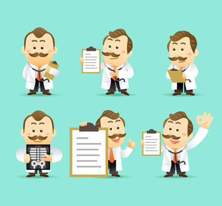 x rays: Vector Set of Cartoon Doctor Character, illustration