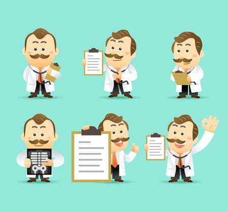 Vector set van cartoon Dokter Karakter, illustratie Stock Illustratie
