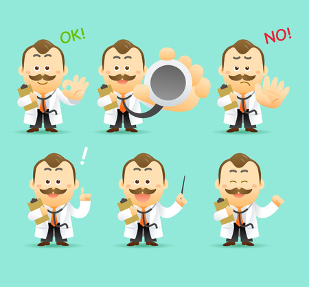 medico caricatura: Vector Conjunto de dibujos animados doctor car�cter, ejemplo