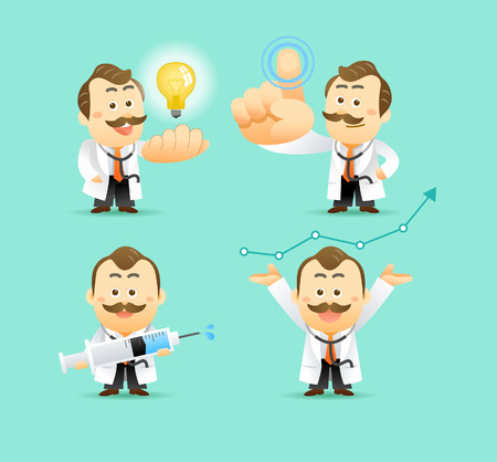 doctor vector: Vector Set of Cartoon Doctor Character, illustration