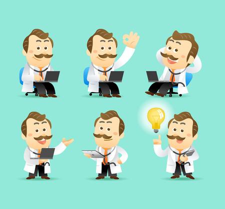 doctor dibujo animado: Vector Conjunto de dibujos animados doctor carácter, ejemplo