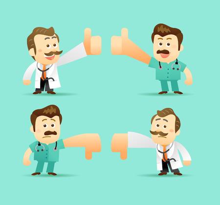 doctor cartoon: Vector Set of Cartoon Doctor Character, illustration