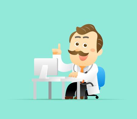 Vector illustration Cute Senior Doctor Character Vector