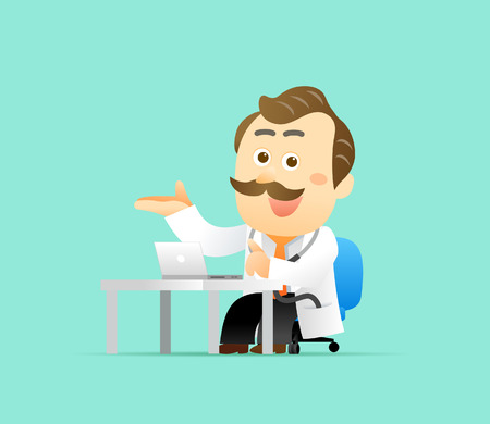 physical therapy: Vector illustration Cute Senior Doctor Character