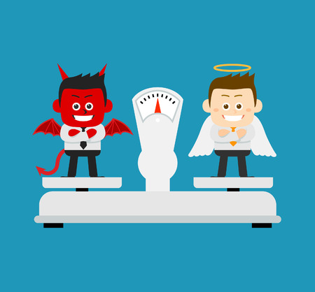 bondad: Ilustración del vector - ángel de negocios y el mal están de pie en la escala
