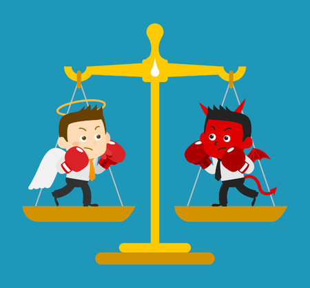 devil: Business Angel & Devil - vector Illustration